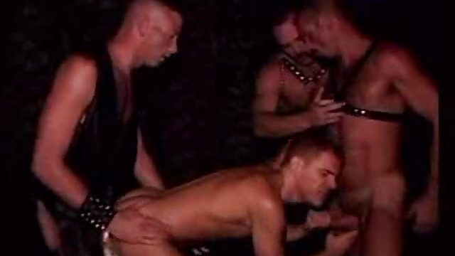 Gay gangbang with muscular men in leather