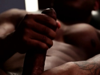 Beefy muscular ebony treating himself (BBC)